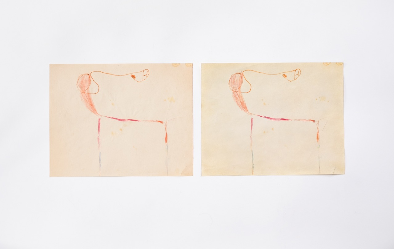 Doublé (vieux dessin, 1978), 2018 — Soft pastel, pencil on paper 29,7 x 21 cm , childdrawing did 40 years ago, 29,7 x 21 cm