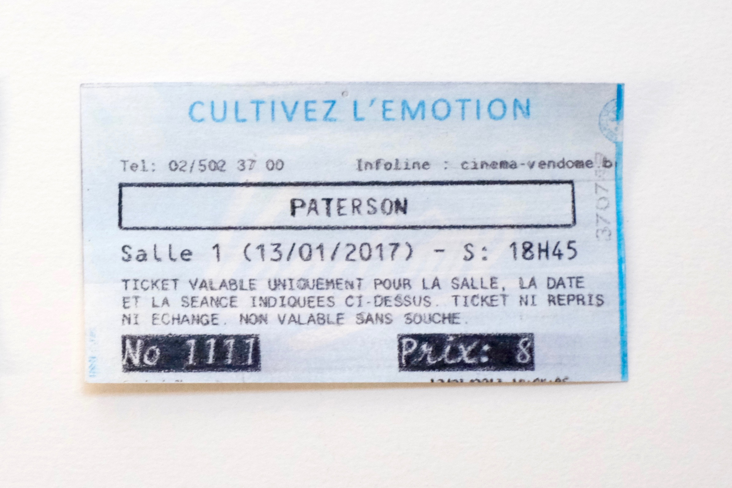 Falsifié ( ticket de cinéma - Paterson), 2017 — Transfer, water, watercolor pencil on paper, 2017 9 x 5 cm